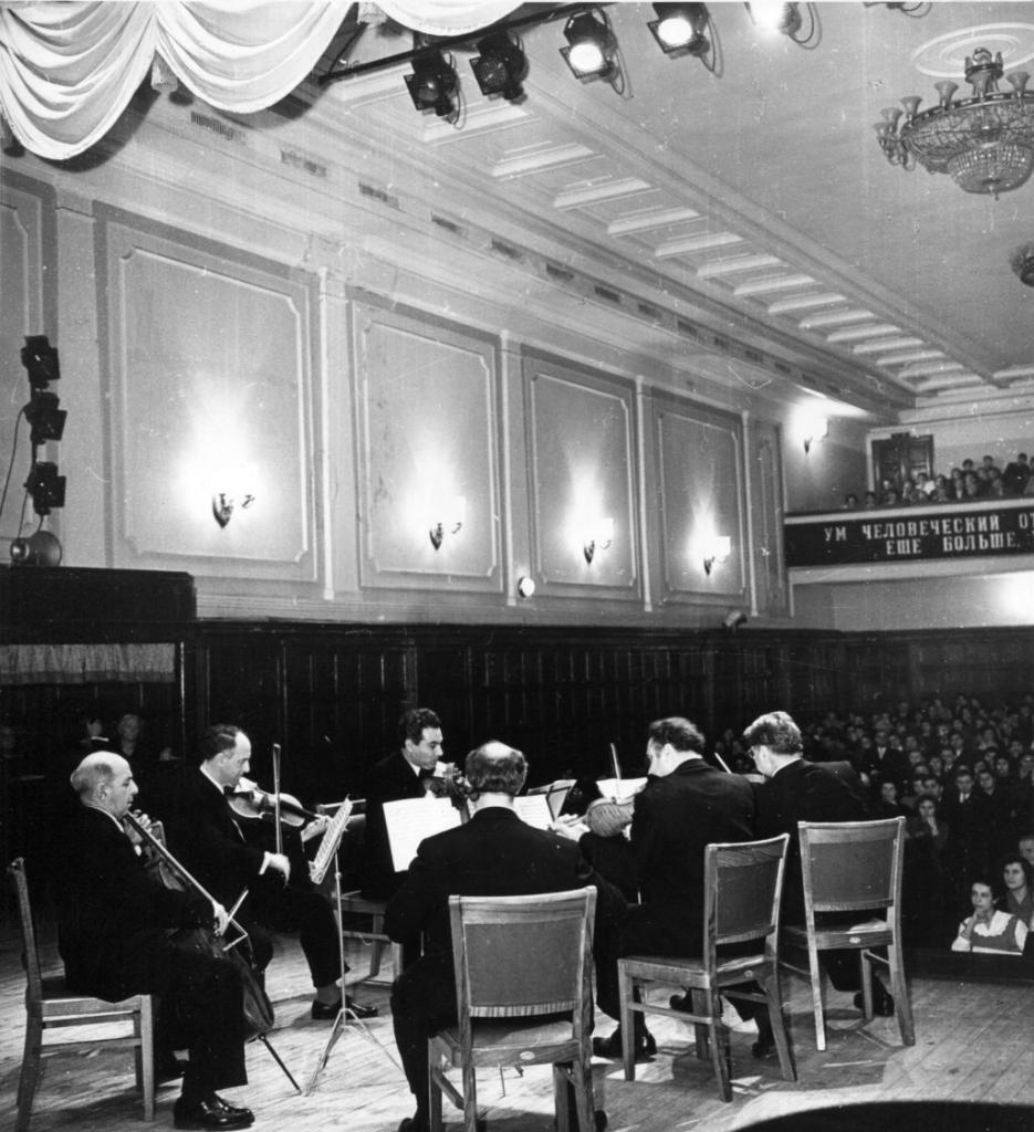 Rudolf Barshai, Mstislav Rostropovich and Komitas  Quartet: Avet Gabrielian, Rafael Davidian, Henrik   Talalian, Sergey Aslamazian. Moscow, 28.12.1960