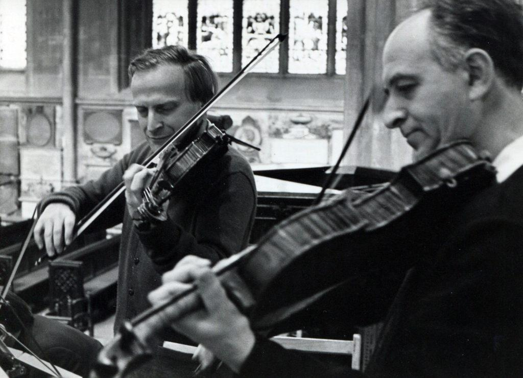 Yehudi Menuhin and Rudolf Barshai. A rehearsal of the   Mozart's Sinfonia Concertante.  Bath Festival, Great Britain. July 1962