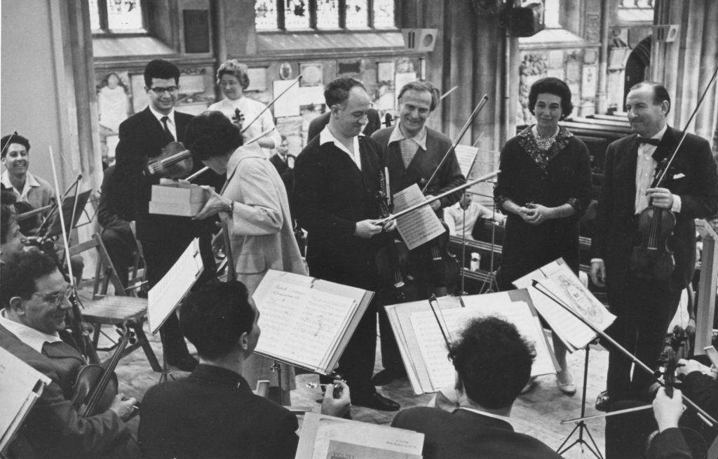 Michel Tippett Double Concerto. The Moscow Chamber   Orchestra, conductor Rudolf Barshai, Bath Festival   Orchestra, conductor Yehudi Menuhin. Abbey Road,   London, July 2 1962