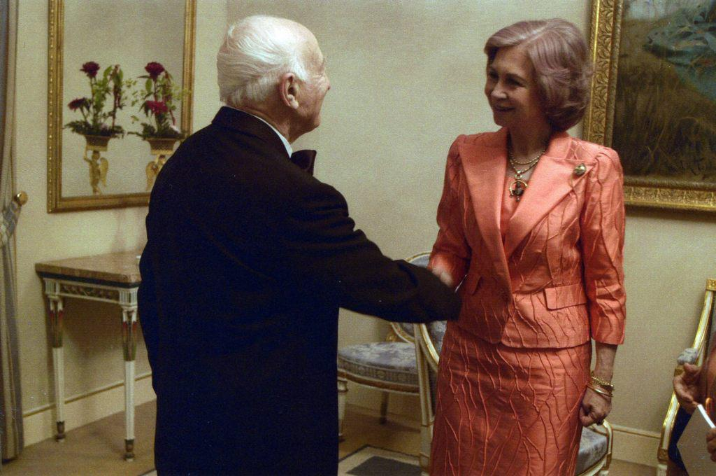 With Queen Sofia of Spain after a concert at the Royal   Palace in Madrid. June 18 2004