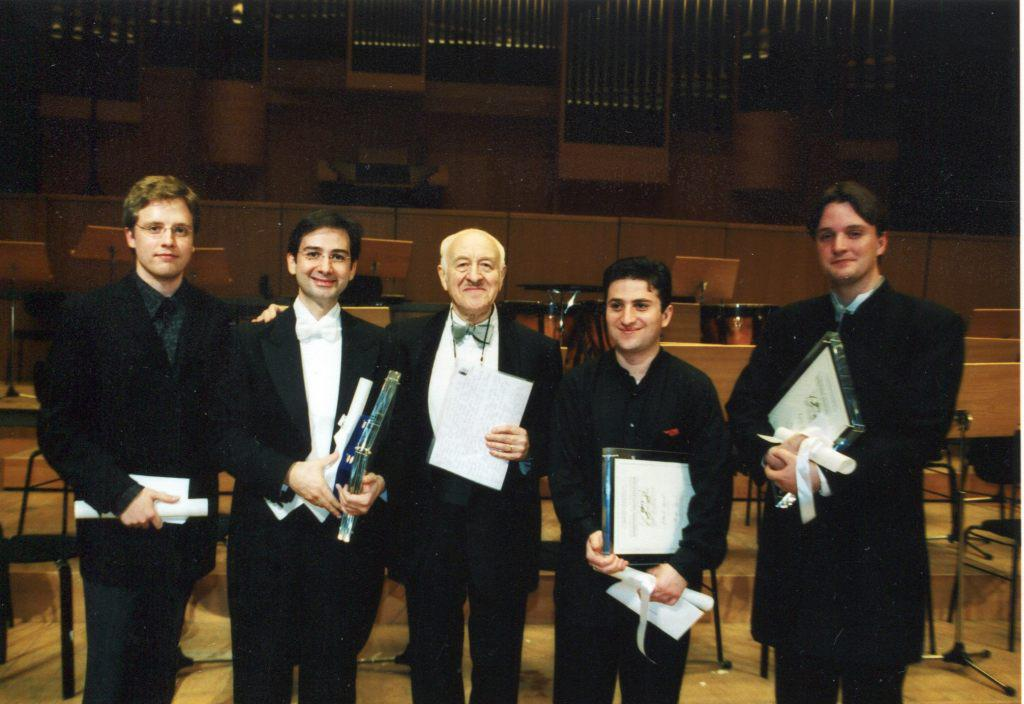 The 2002 Dimitris Mitropoulos International Competition for Conducting. From left to right: Jean-Philippe Tremblay (Orchestra Prize), Alpaslan Ertungealp (1 Prize), Rudolf Barshai (Jury Chairman), Mikhail Agrest (3 Prize), Kynan Johns (2 Prize). 2002